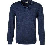 Pullover, Body Fit, Schurwolle, dunkelblau