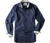 Hemd, Slim Fit, Baumwolle, marineblau