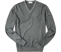 Pullover, Merinowolle, graugrün meliert