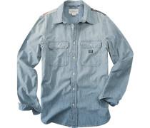 Hemd, Baumwolle, jeansblau