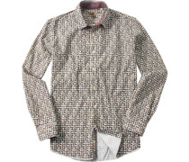 Hemd, Popeline, -beige gemustert