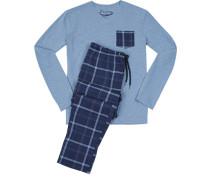 Schlafanzug Pyjama, Baumwolle, blau kariert