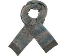 Schal, Wolle, blaugrau gemustert