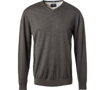 Pullover, Wolle-Baumwolle, anthrazit
