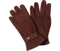 Handschuhe, Veloursleder, rotbraun