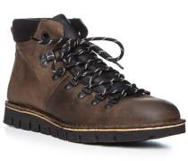 Schuhe Schnürboots, Rindleder, olivgrün