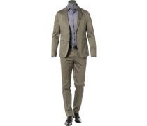 Anzug, Baumwoll-Stretch, olivgrün