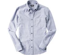 Hemd, Slim Fit, Oxford, dunkelblau meliert