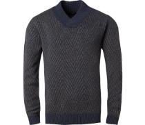 Pullover Pulli, Wolle, navy gemustert