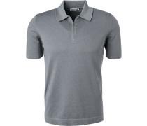 Zip-Polo-Shirt, Baumwoll-Strick, platingrau