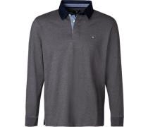 Rugby-Shirt, Baumwolle, mittelgrau meliert
