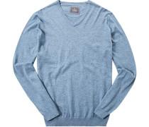 Pullover, Baumwolle-Seide, eisblau meliert