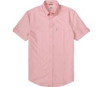 Kurzarm-Hemd, Oxford, rosa-weiß meliert