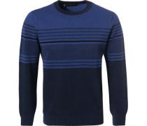 Pullover, Schurwolle, dunkelblau gestreift