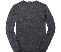Pullover, Merino-Leinen, dunkelblau meliert