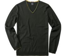 Pullover, Slim Fit, Schurwolle, dunkelgrün