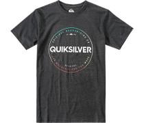 Herren T-Shirt Modern Fit Baumwoll-Mix anthrazit meliert grau