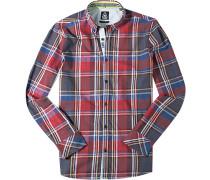 Hemd, Twill, rot-blau kariert