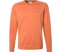 Pullover, Baumwolle, orangebraun meliert