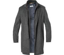 Mantel, Wolle, dunkelgrau meliert