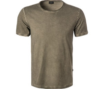 T-Shirt, Baumwolle, olivgrün meliert
