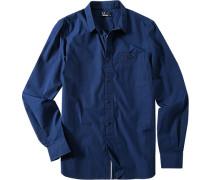 Hemd, Popeline, dunkelblau