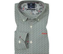 Hemd, Popeline, -weiß gemustert