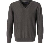 Pullover, Baumwolle, graubraun meliert