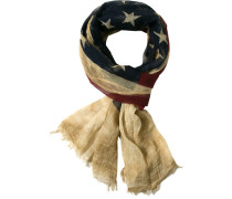 Schal, Baumwolle, navy- gemustert