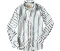 Hemd, Popeline, blau- gestreift