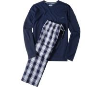 Schlafanzug Pyjama, Baumwolle, navy