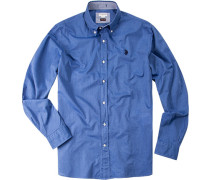 Hemd, Slim Fit, Baumwolle, königsblau