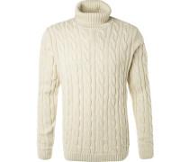 Rollkragenpullover, Baumwolle, wollweiß