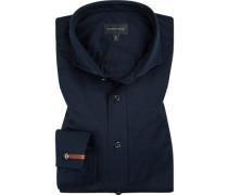 Hemd, Tailored Fit, Jersey, nachtblau