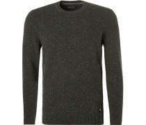 Pullover, Wolle, dunkelgrün meliert