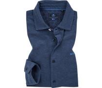 Hemd, Baumwoll-Piqué, mittelblau meliert
