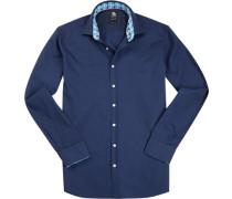 Hemd, Regular Fit, Baumwolle, marineblau
