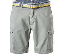 Hose Shorts, Baumwolle, grau-