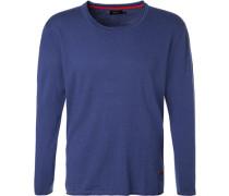 Pullover, Baumwolle, königsblau meliert