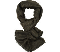 Schal, Wolle, dunkelgrün gemustert