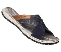 Schuhe Sandalen, Leder-Textil, navy