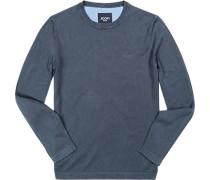 Pullover, Baumwolle, blaugrau meliert