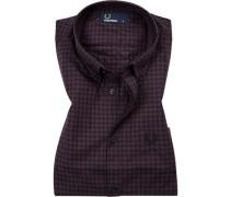 Hemd, Popeline, violett kariert
