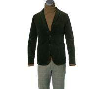 Sakko, Shaped Fit, Baumwoll-Cord dunkelgrün