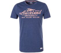 T-Shirt, Baumwolle, dunkelblau meliert