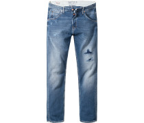 Jeans, Tapered Fit, Baumwolle, jeansblau