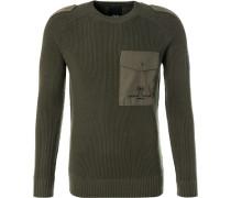 Pullover, Regular Fit, Schurwolle, olivgrün