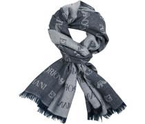Schal, Wolle, rauchblau gemustert