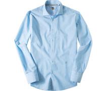 Hemd, Baumwoll-Leinen, hellblau gestreift