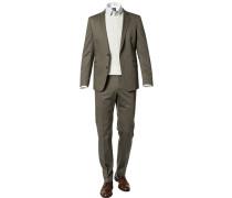 Anzug, Slim Fit, Baumwolle, olivgrün